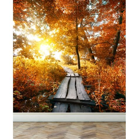 peel and stick wall murals wall mural autumn and small bridge peel and stick repositionable fabric wallpaper for interior