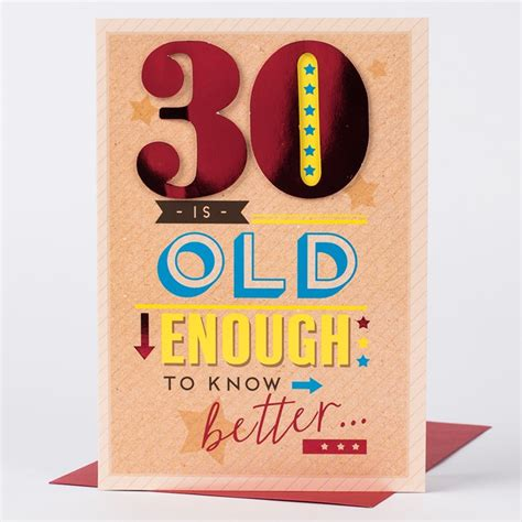 30 Birthday Cards Birthday Card 30 Is Old Enough Only 79p