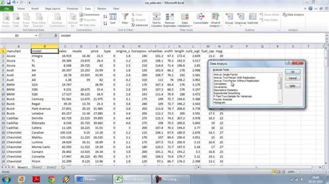 Multiple Linear Regression Using Excel Data Analysis Toolpak Youtube Data Analysis Report Template Excel