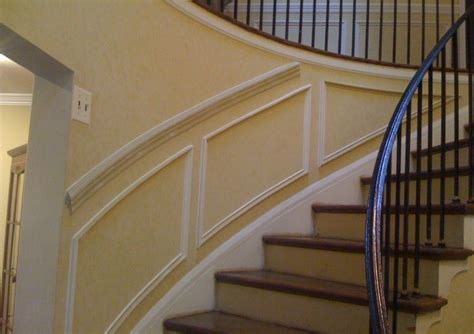 chair rail and shadow boxes chair rail and shadow boxes on curved staircase wall