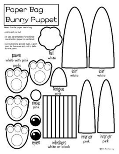 bunny paper bag puppet coloring or template easter theme