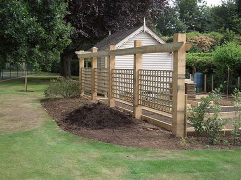 Landscape Timbers As Fence Post Trellis Fence And Fencing On