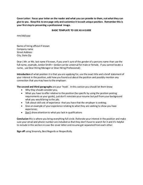 cover letter basic format application letter sle cover letter template basic