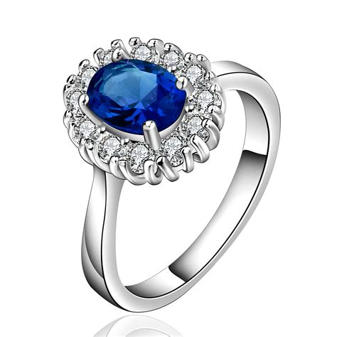 2015 silver rings with zircon sapphire ring jewelry