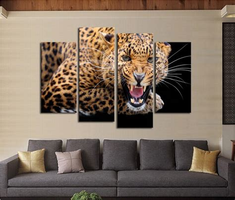 leopard print home decor aliexpress com buy free shipping 4 panels no frame yellow spots leopard print modern painting