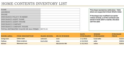 Household Inventory   Household Inventory List