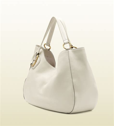 Guc Ci Leather White lyst gucci twill white leather shoulder bag in white