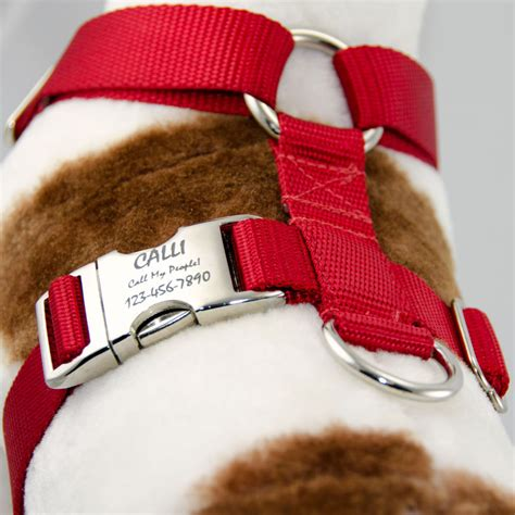 personalized harness adjustable harness no choke personalized pet id tag