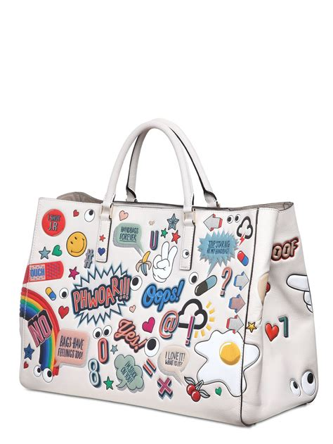 How To Get Anya Hindmarchs I Am Not A Plastic Bag Tote by Anya Hindmarch Sticker Tote Bag In White Lyst