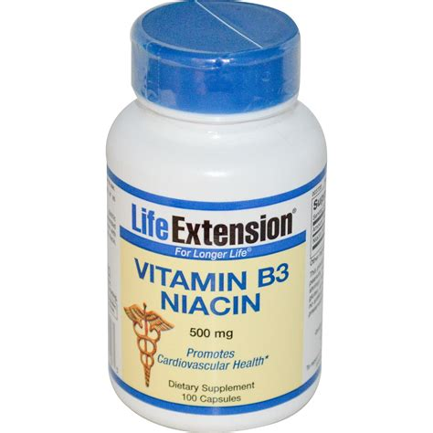 supplement niacin extension vitamin b3 niacin 500 mg 100 capsules