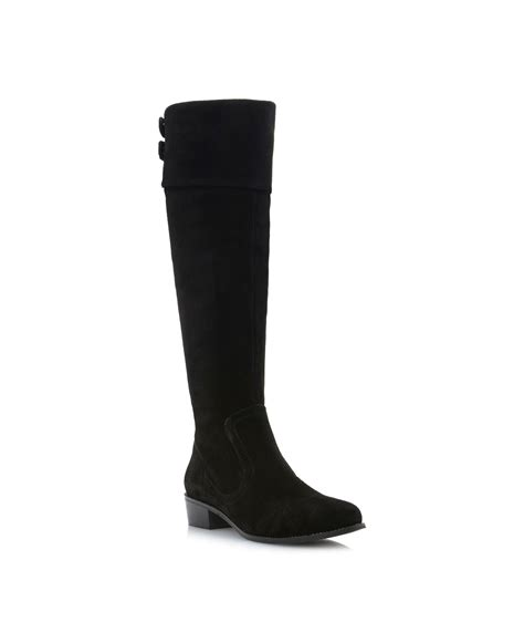 dune tishfold cuff knee high boots in black black