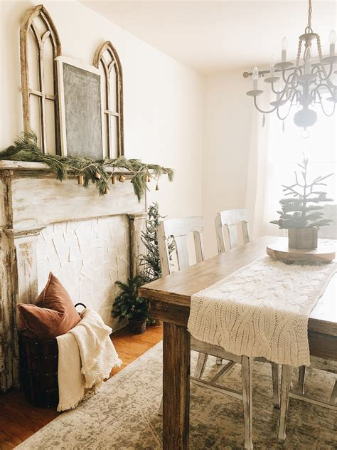 dining room faux fireplace mantel  gathered cottage