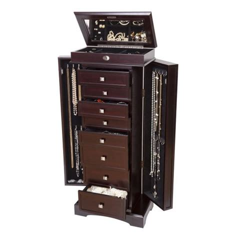 dark wood jewelry armoire wooden jewelry armoire dark walnut finish 8 drawers
