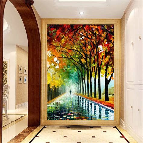 Living Room Wallpaper Or Paint Custom 3d Hallway Mural Entranceway Abstract Tree