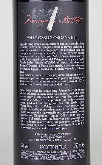 2011 il palagio message in a bottle rosso toscana igt wein rotwein message in a bottle igt toscana il palagio