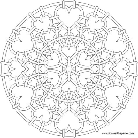 mandala coloring pages hearts don t eat the paste heartmail mandala