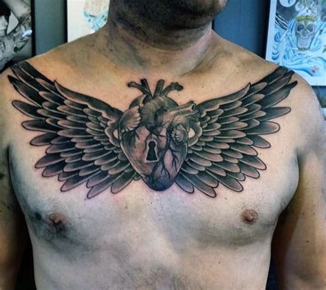wing chest tattoo designs  men freedom ink ideas