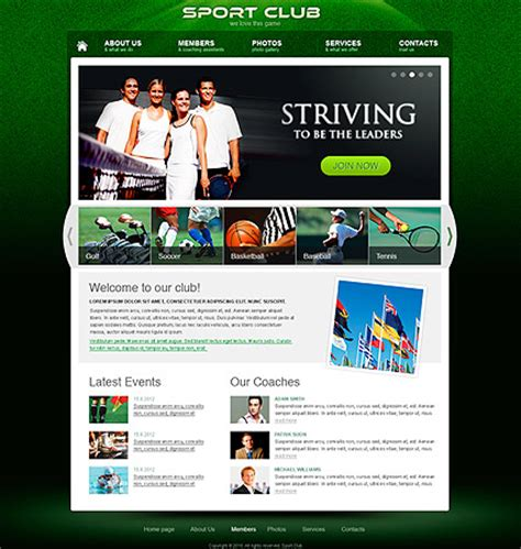 Sport Club Html Template Html5 Web Templates 300111255 School Club Website Template
