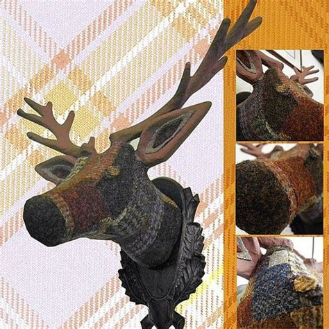 Patchwork Stag - paper mache harris tweed patchwork stags by