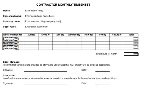 Contractor Monthly Timesheet For Working Days Tracking Timesheet Template Free Online Timesheet For Contractors Template Free Excel