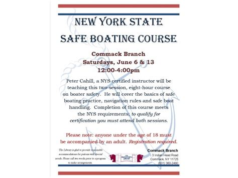 boat safety requirements ny new york state safe boating course at the smithtown