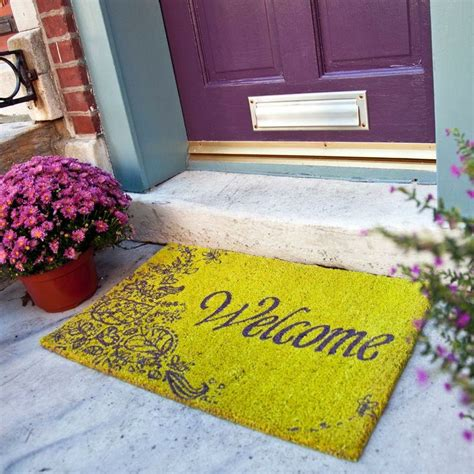 Purple Front Door Mat Doormat That Says Welcome With Scrolly Flowers Green And