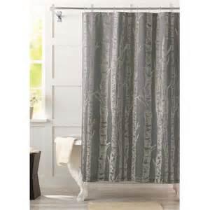 Walmart Bathroom Shower Curtains Better Homes And Gardens Birch Fabric Shower Curtain Walmart
