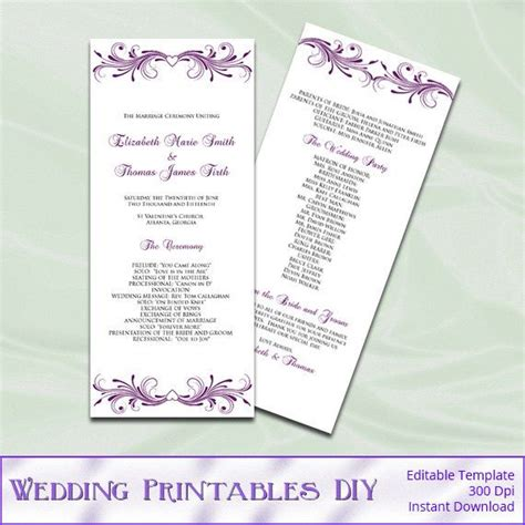 diy wedding program template plum wedding program template diy printable tea