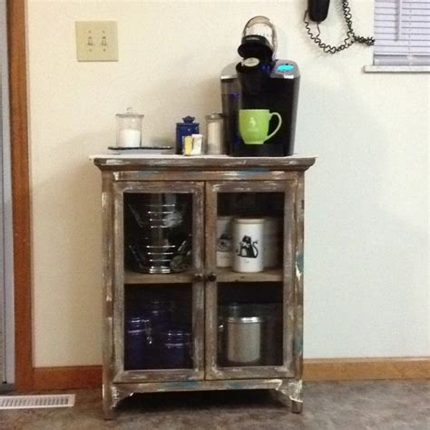 Coffee Station Cabinet by Coffee Station Using Rustic Looking Cabinet From Home
