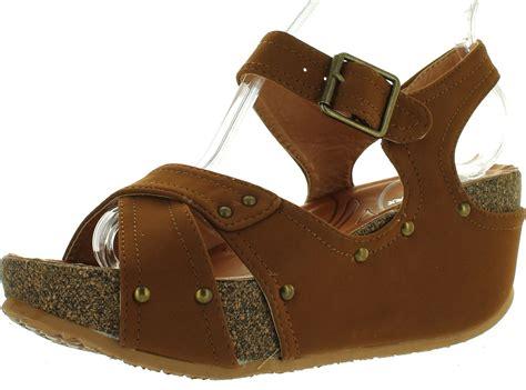 Sandal Wedges Dh196 Hitam 23 forever freya 23 womens cork look platform ankle low wedge sandals