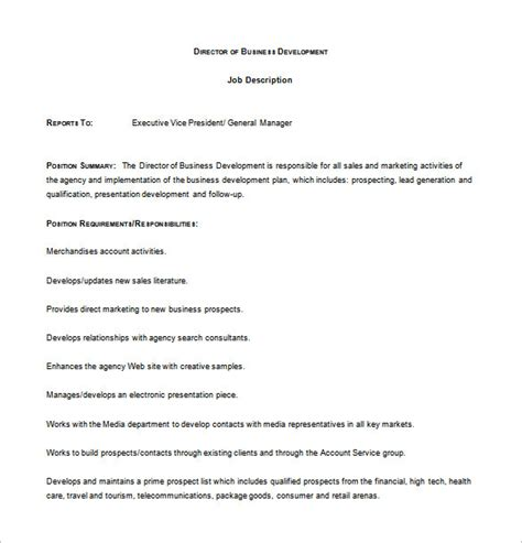 director of development description business development description template 10 free
