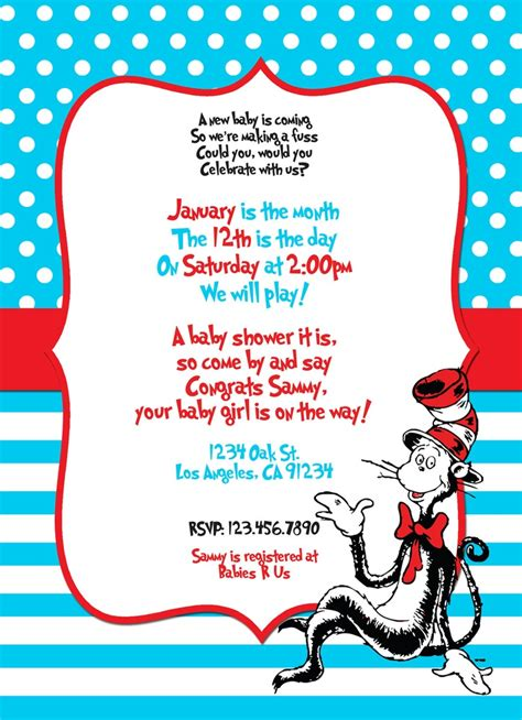 Cat In The Hat Baby Shower Invitations by Custom Dr Seuss Themed Printable Digital Baby Shower