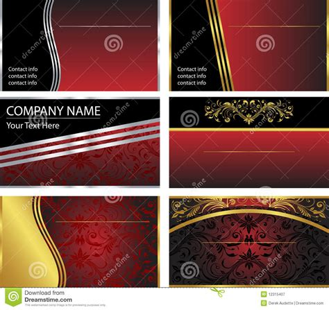 royalty free business card templates six vector business card templates royalty free stock