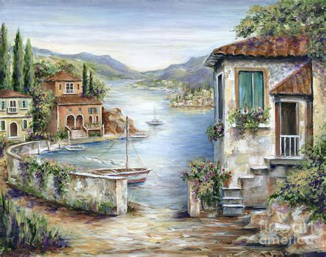 Mediterranean Wall Murals tuscan villas by the lake painting by marilyn dunlap