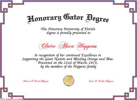 Honorary Gator Degree Honorary Doctorate Degree Template