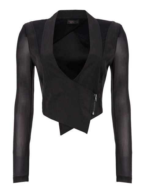 cropped zip jacket label lab cropped zip jacket in black lyst