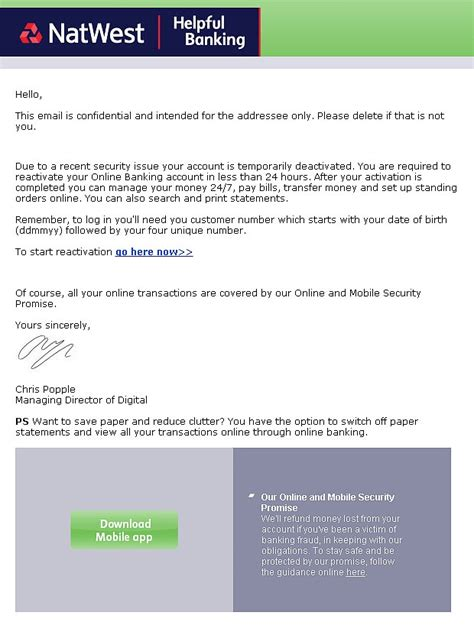 Natwest Bank Letterhead warning blocked funds email scam exposed