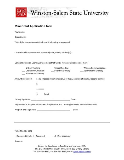 grant application template mini grant initiative application form