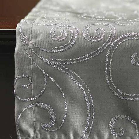Silver Glitter Swirls Satin Table Runner   Tableware