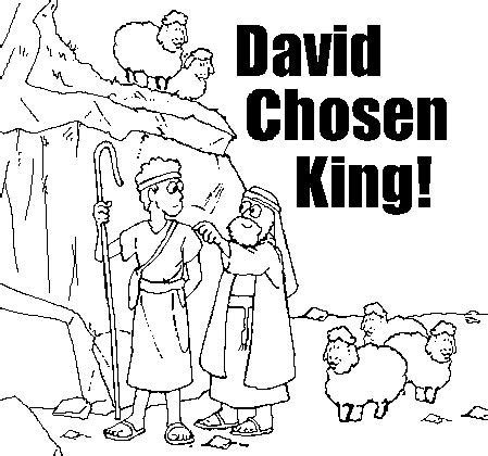 coloring page david becomes king old testament coloring pages