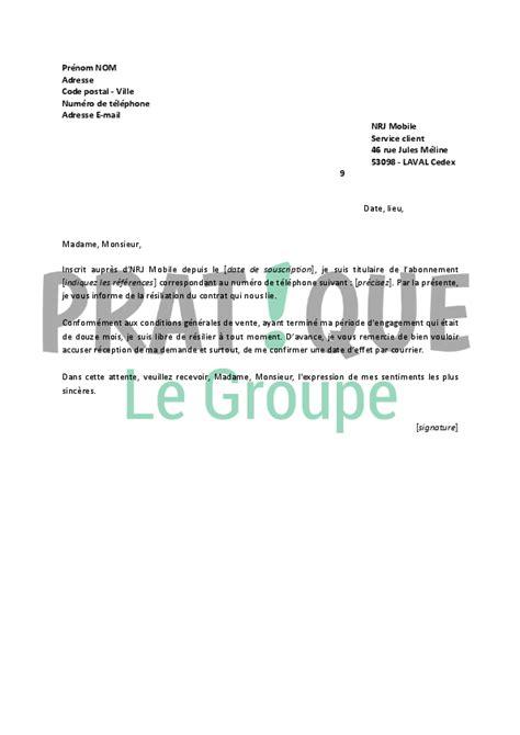 Nrj Mobile Lettre De Résiliation Lettre De R 233 Siliation Nrj Mobile Pratique Fr