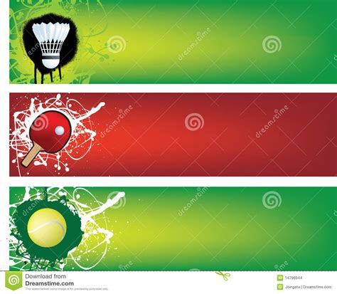 design banner badminton badminton table tennis and tennis banners stock images