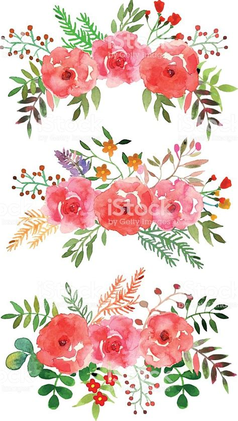 Set Flower vector floral set with watercolor flowers stock vector