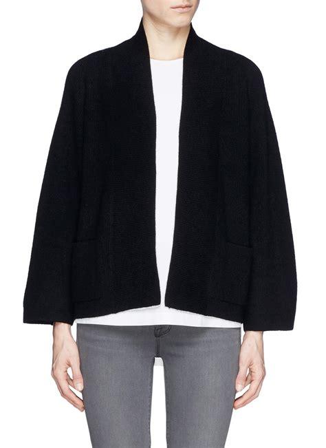black drape cardigan armani kimono sleeve cashmere drape cardigan in black lyst