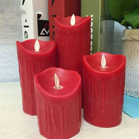 Paraffin red wax flameless led candle,Tear dripping finish