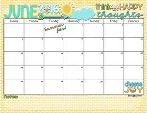 Calendar June June 2016 Calendar Let S Some Summer Inkhappi