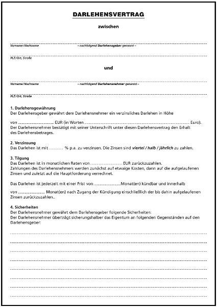 kostenlos muster kreditvertrag darlehensvertrag f 252 r privatpersonen ii formulare gratis
