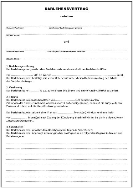 Musterbrief Bearbeitungsgebühr Kredit Zum Drucken Darlehensvertrag F 252 R Privatpersonen Ii Formulare Gratis