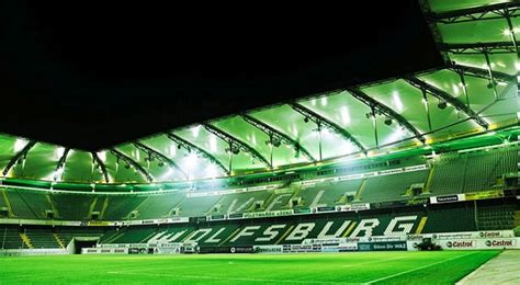 vfl wolfsburgs stadium  volkswagen arena germany stadiums  europe pinterest