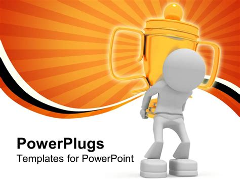 Powerpoint Template The Figure Of A Winner Carrying A Cup Powerplugs Powerpoint Templates